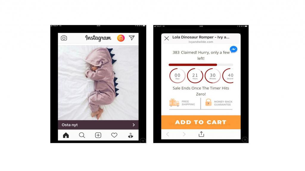 Instagram-mainos, jossa vauva makaa sängyssä dinosauruspuku päällään ja viereinen teksti kehottaa tilaamaan, ennen kuin puvut loppuvat.