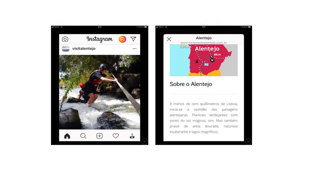Portugalilainen instagram-mainos, jonka kuvissa näkyy koskessa kahlaava miesoletettu ja Aletejon kartta portugalinkielisen tekstin kanssa.