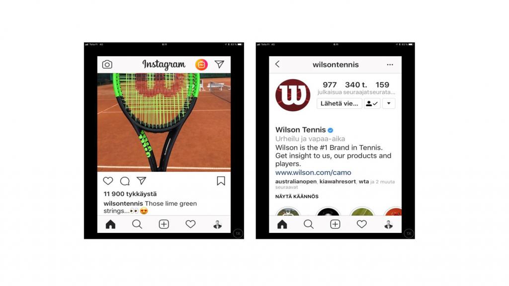 Instagram-kuva Wilsonin tennismailasta ja Wilsonin Instagram-tilin bioteksti, josta löytyy linkki