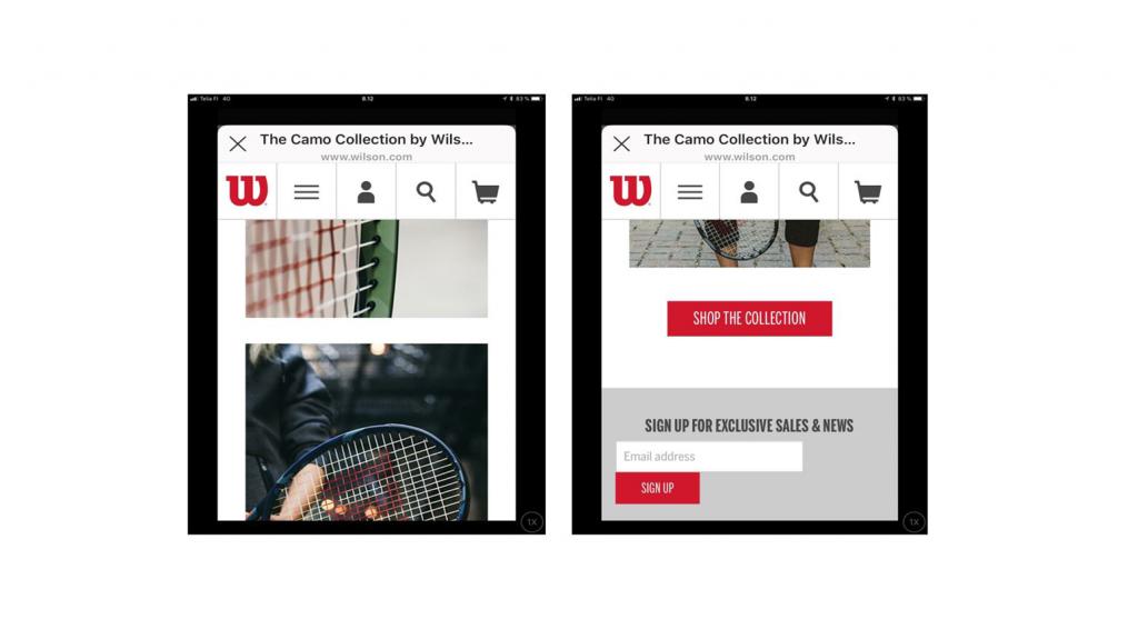 Kuvia Wilsonin camo-kuvioisista tennismailoista verkkosivuston galleriassa, ja painike, jota klikkaamalla pääsee ostamaan mailoja.