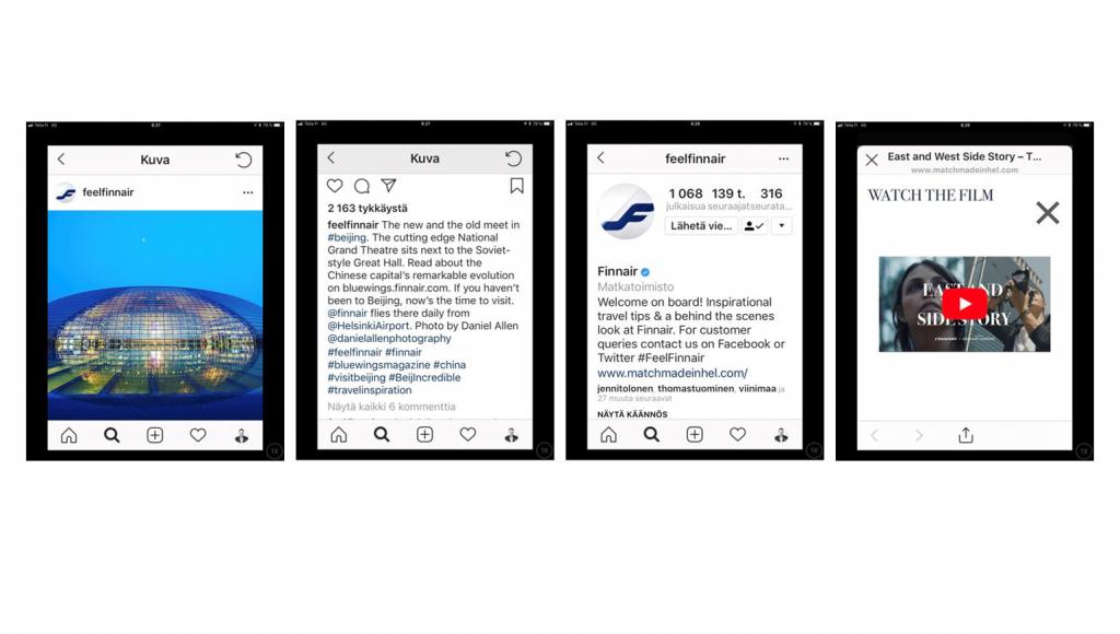 Finnairin Instagram-tilille postattu kuva pyöreästä, lasisesta rakennuksesta iltataivasta vasten, sen kuvateksti, Finnairin Instagram-tilin bioteksti sekä siinä olevasta linkistä avautuva sivu, jolla on videon käynnistyskuvake.