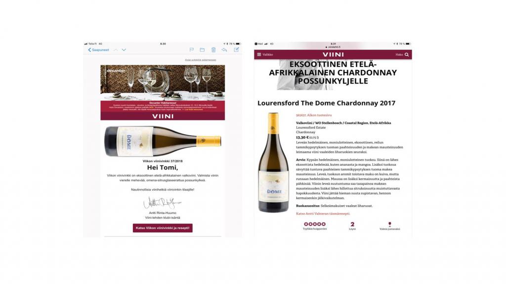 """Kuva Viini-lehden sähköpostilla lähettämästä uutiskirjeestä, jossa iso sivuttain makaava viinipullo ja """"Hei Tomi"""" -tervehdyksen alla tekstiä. Toisessa kuvassa pidempi teksti kyseisestä viinistä."""