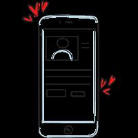 Piirretty matkapuhelin, jolla näkyy henkilöprofiili ja ympärillä leijuu sydämiä