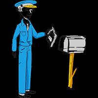 Piirretty postimies laittaa postia postilaatikkoon
