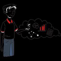 Piirretty miesoletettu, jonka vieressä ajatuspilvessä datagraafeja ja -käyriä