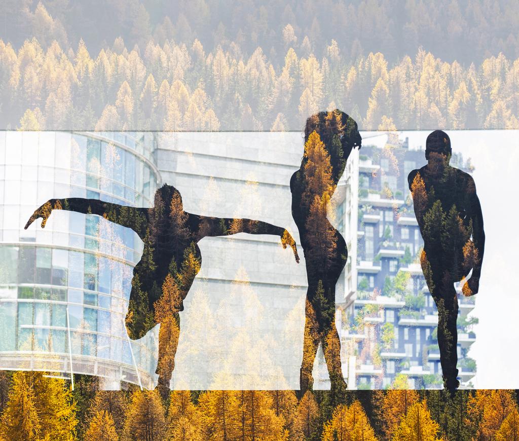 Metsän ja kaupunkiympäristön päälle valotettuja ihmisten hahmoja eri asentoihin taipuneina