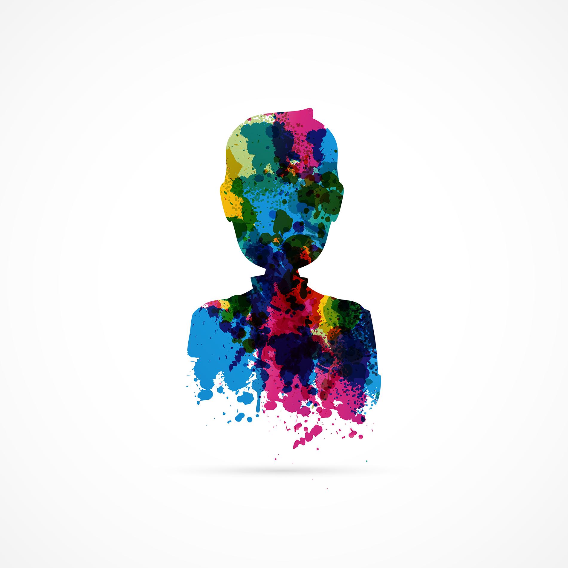 Värikkäistä maaliläikistä koostunut ihmisen hahmo