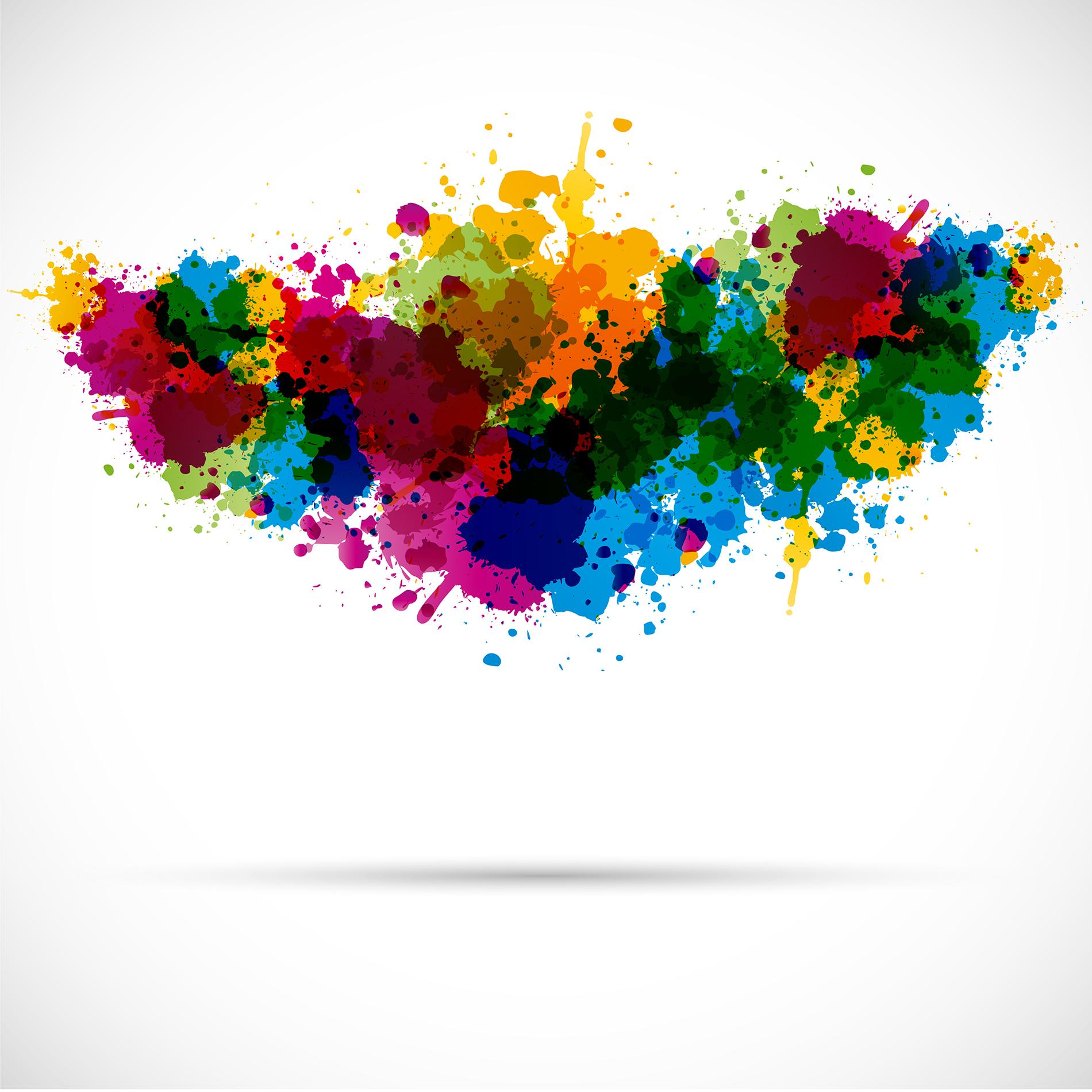 Värikkäistä maaliläikistä koostunut puhekupla